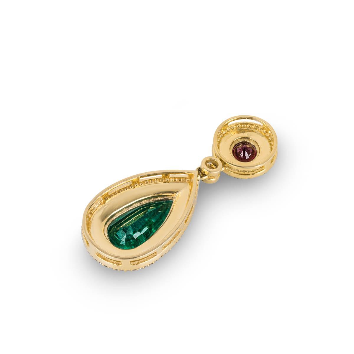 Yellow Gold Multi-Gem and Diamond Pendant
